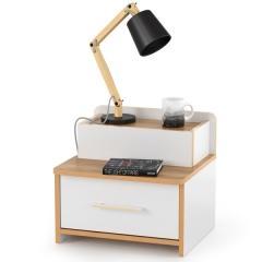 Вуди Тумба 02.18, цвет белый премиум/дуб крафт золотой, ШхГхВ 46х42х41,4 см., ящик-шкатулка без направляющих