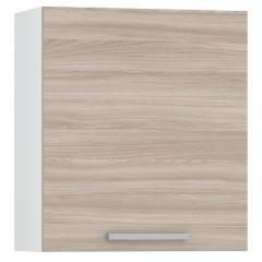КРДА. Кухня Лима Шкаф навесной 600, цвет белый/ясень шимо светлый, ШхГхВ 60х32х68 см., возможность установки сушки, фасады ДСП, универсальная дверь