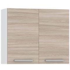 КРДА. Кухня Лима Шкаф навесной 800 2 двери, цвет белый/ясень шимо светлый, ШхГхВ 80х32х68 см., возможность установки сушки, фасады ДСП