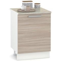 КРДА. Кухня Лима Стол 600, цвет белый/яс. ш. св., ШхГхВ 60х52х84 см., столешница мрамор беж в комплекте, можно для мойки, вар. панели, фасады ДСП