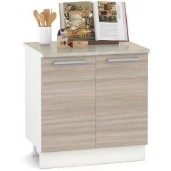 КРДА. Кухня Лима Стол 800 2 двери, цвет белый/ясень шимо светлый, ШхГхВ 80х52х84 см., столешница мрамор бежевый в компл., можно для мойки, фасады ДСП