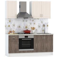 Набор мебели для кухни 1800 Катрин, цвет белый/столы дуб турин/шкафы жемчужный лён, столешница мрамор бежевый светлый, ШхГхВ 180х60х212 см., ун. сб.