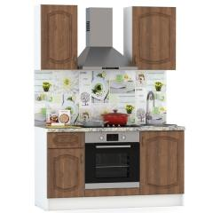 Набор мебели для кухни 1500 Сильвия, цвет белый/орех кантри, столешница мрамор бежевый светлый, ШхГхВ 150х60х212 см., универсальная сборка