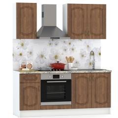Набор мебели для кухни 1800 Сильвия, цвет белый/орех кантри, столешница мрамор бежевый светлый, ШхГхВ 180х60х212 см., универсальная сборка