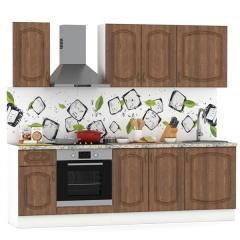 Набор мебели для кухни 2400 Сильвия, цвет белый/орех кантри, столешница мрамор бежевый светлый, ШхГхВ 240х60х212 см., универсальная сборка