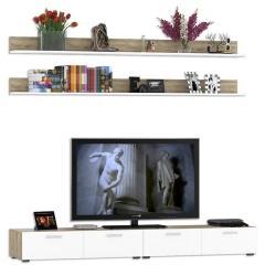 Токио Комплектация № 21, цвет дуб крафт серый/белый премиум, ШхГхВ 240х50,9х200 см., ниша для ТВ 240х50х110 см.