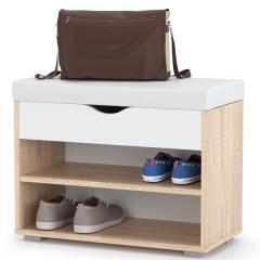 Лайт Тумба для обуви 08.57, цвет дуб сонома/белый/белая искусственная кожа, ШхГхВ 61,5х31,5х47 см.