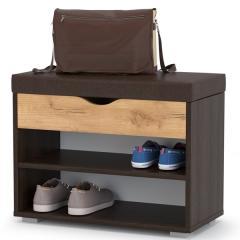 Лайт Тумба для обуви 08.57, цвет венге/дуб крафт золотой/тёмно-коричневая искусственная кожа, ШхГхВ 61,5х31,5х47 см.