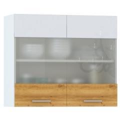 Кухня Адель белый глянец/дуб тортуга Шкаф навесной 800 витрина 2 двери, ШхГхВ 80х32х68 см.