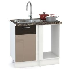 Кухня Адель мокко глянец/венге шёлк Стол 1000 под мойку угловой, ШхГхВ 89(100)х53х81 см., универсальная сбока
