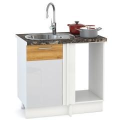 Кухня Адель белый глянец/дуб тортуга Стол 1000 под мойку угловой, ШхГхВ 89(100)х53х81 см., универсальная сбока