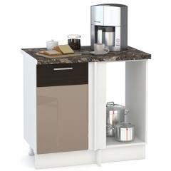Кухня Адель мокко глянец/венге шёлк Стол 1000 угловой, ШхГхВ 89(100)х53х81 см., универсальная сбока, возможность установки мойки