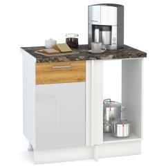 Кухня Адель белый глянец/дуб тортуга Стол 1000 угловой, ШхГхВ 89(100)х53х81 см., универсальная сбока, возможность установки мойки