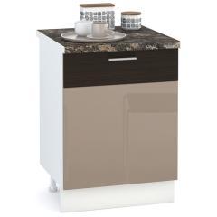 Кухня Адель мокко глянец/венге шёлк Стол 600 1 дверь, ШхГхВ 60х52х81 см., универсальная дверь, можно установить мойку или варочную панель