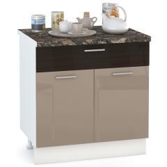 Кухня Адель мокко глянец/венге шёлк Стол 800 1 ящик + 2 двери, ШхГхВ 80х52х81 см.