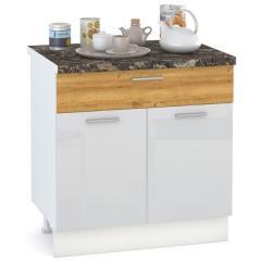 Кухня Адель белый глянец/дуб тортуга Стол 800 1 ящик + 2 двери, ШхГхВ 80х52х81 см.