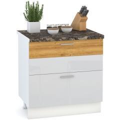 Кухня Адель белый глянец/дуб тортуга Стол 800 2 ящика, ШхГхВ 80х52х81 см.