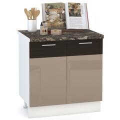 Кухня Адель мокко глянец/венге шёлк Стол 800 2 двери, ШхГхВ 80х52х81 см., возможность установки мойки