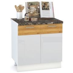 Кухня Адель белый глянец/дуб тортуга Стол 800 2 двери, ШхГхВ 80х52х81 см., возможность установки мойки