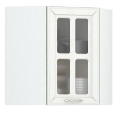 Кухня Маргарита белое дерево Шкаф навесной угловой витрина 600, ШхГхВ 60х60х68 см., универсальная дверь