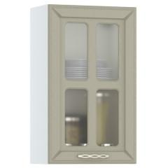 Кухня Маргарита имбирь структурный Шкаф навесной 400 витрина, ШхГхВ 40х32х68 см., универсальная дверь