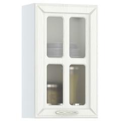 Кухня Маргарита белое дерево Шкаф навесной 400 витрина, ШхГхВ 40х32х68 см., универсальная дверь