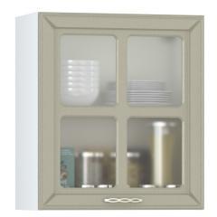 Кухня Маргарита имбирь структурный Шкаф навесной 600 витрина 1 дверь, ШхГхВ 60х32х68 см., универсальная дверь