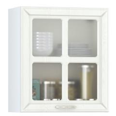 Кухня Маргарита белое дерево Шкаф навесной 600 витрина 1 дверь, ШхГхВ 60х32х68 см., универсальная дверь