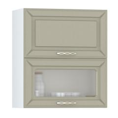 Кухня Маргарита имбирь структурный Шкаф навесной 600 горизонтальный дверь и дверь со стеклом, ШхГхВ 60х32х68 см., двери открываются вверх