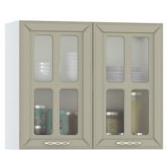 Кухня Маргарита имбирь структурный Шкаф навесной 800 витрина 2 двери, ШхГхВ 80х32х68 см.