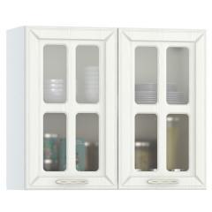 Кухня Маргарита белое дерево Шкаф навесной 800 витрина 2 двери, ШхГхВ 80х32х68 см.