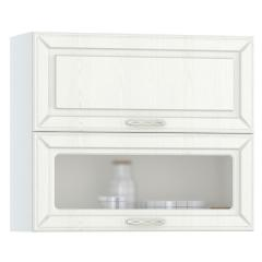 Кухня Маргарита белое дерево Шкаф навесной 800 горизонтальный дверь и дверь со стеклом, ШхГхВ 80х32х68 см., двери открываются вверх