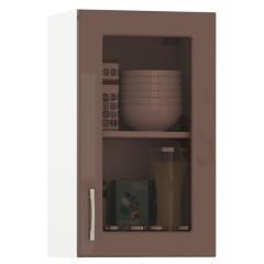 Кухня Сандра капучино глянец/белый Шкаф навесной 400 витрина, ШхГхВ 40х32х68 см., универсальная дверь