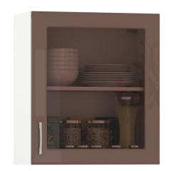 Кухня Сандра капучино глянец/белый Шкаф навесной 600 витрина 1 дверь, ШхГхВ 60х32х68 см., универсальная дверь