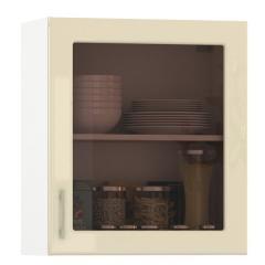 Кухня Сандра ваниль глянец/белый Шкаф навесной 600 витрина 1 дверь, ШхГхВ 60х32х68 см., универсальная дверь