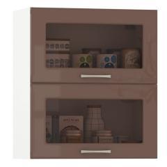 Кухня Сандра капучино глянец/белый Шкаф навесной 600 витрина горизонтальный 2 двери, ШхГхВ 60х32х68 см., двери открываются вверх