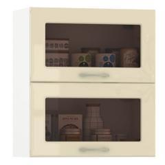 Кухня Сандра ваниль глянец/белый Шкаф навесной 600 витрина горизонтальный 2 двери, ШхГхВ 60х32х68 см., двери открываются вверх