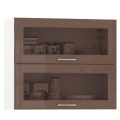 Кухня Сандра капучино глянец/белый Шкаф навесной 800 витрина горизонтальный 2 двери, ШхГхВ 80х32х68 см., двери открываются вверх