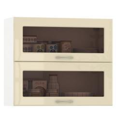 Кухня Сандра ваниль глянец/белый Шкаф навесной 800 витрина горизонтальный 2 двери, ШхГхВ 80х32х68 см., двери открываются вверх