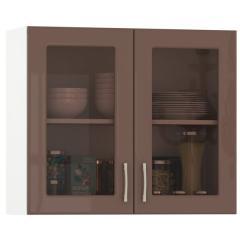 Кухня Сандра капучино глянец/белый Шкаф навесной 800 витрина 2 двери, ШхГхВ 80х32х68 см.