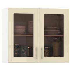 Кухня Сандра ваниль глянец/белый Шкаф навесной 800 витрина 2 двери, ШхГхВ 80х32х68 см.