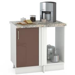 Кухня Сандра капучино глянец/белый Стол 1000 угловой, ШхГхВ 89(100)х53х81 см., универсальная сбока, возможность установки мойки