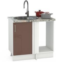 Кухня Сандра капучино глянец/белый Стол 1000 под мойку угловой, ШхГхВ 89(100)х53х81 см., универсальная сбока