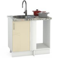 Кухня Сандра ваниль глянец/белый Стол 1000 под мойку угловой, ШхГхВ 89(100)х53х81 см., универсальная сбока