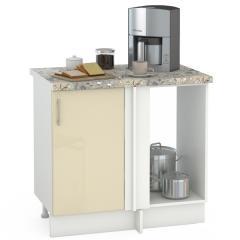 Кухня Сандра ваниль глянец/белый Стол 1000 угловой, ШхГхВ 89(100)х53х81 см., универсальная сбока, возможность установки мойки