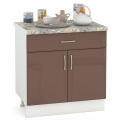 Кухня Сандра капучино глянец/белый Стол 800 1 ящик + 2 двери, ШхГхВ 80х52х81 см.