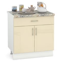 Кухня Сандра ваниль глянец/белый Стол 800 1 ящик + 2 двери, ШхГхВ 80х52х81 см.