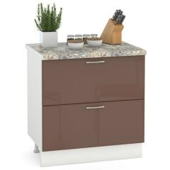Кухня Сандра капучино глянец/белый Стол 800 2 ящика, ШхГхВ 80х52х81 см.