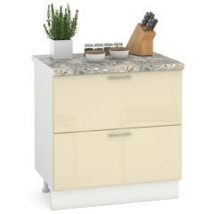 Кухня Сандра ваниль глянец/белый Стол 800 2 ящика, ШхГхВ 80х52х81 см.
