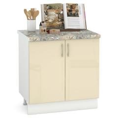 Кухня Сандра ваниль глянец/белый Стол 800 2 двери, ШхГхВ 80х52х81 см., возможность установки мойки